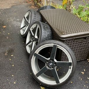 """24"""" Staggered Rims with low performance tires"""